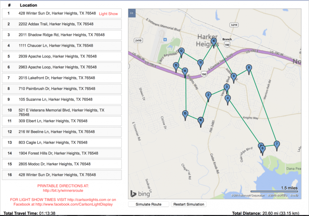 2014 Heights Lights on Parade Winners Map