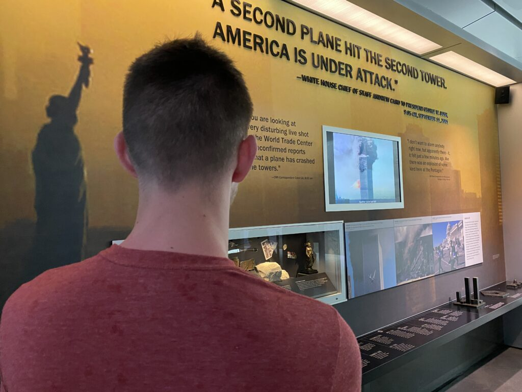 My son looking at one of the inside exhibits within the Visitor Center for the Flight 93 National Memorial