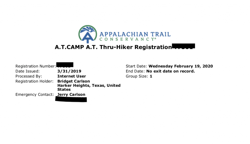 My AT thru-hike announcement registration