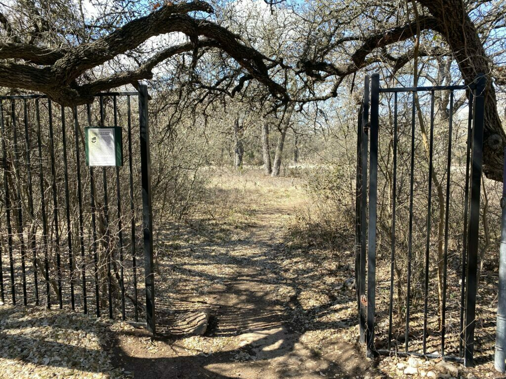 Gate entrance at Discovery Well Cave Preserve