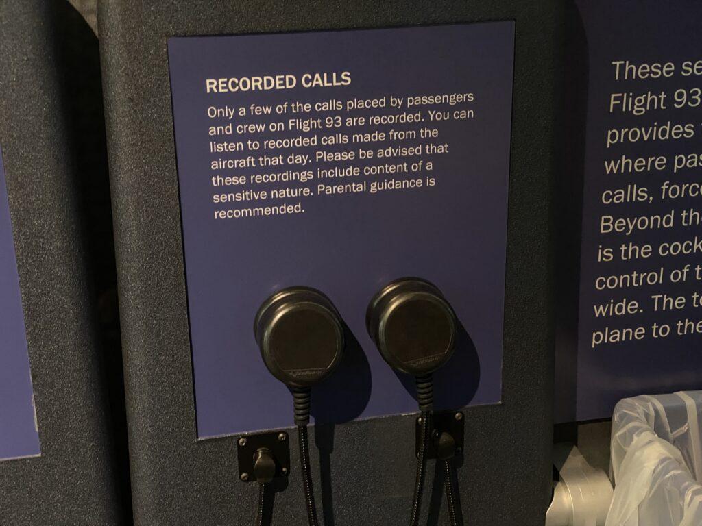 Headphones to listen to recordings from passengers of Flight 93
