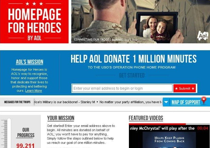 AOL Homepage for Heros Operation Phone Home