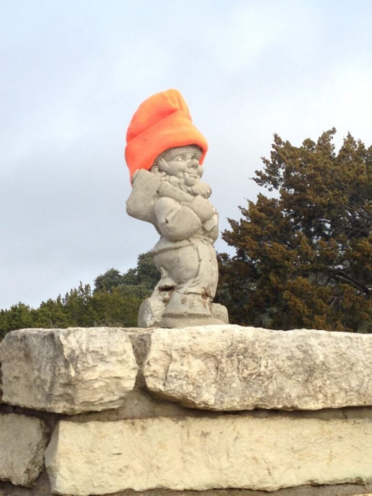 The gnome at Dana Peak Park is sporting a new beanie