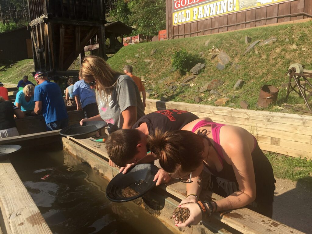 Panning for gold at Big Thunder Gold Mine in Keystone, South Dakota