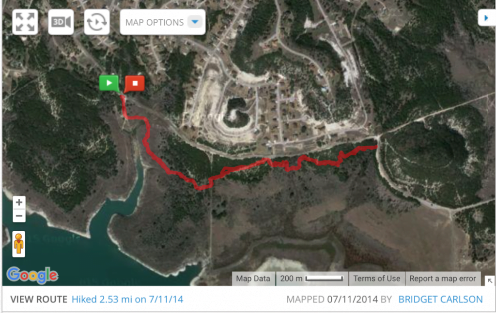 My hike route on July 11 2014 at Dana Peak Park