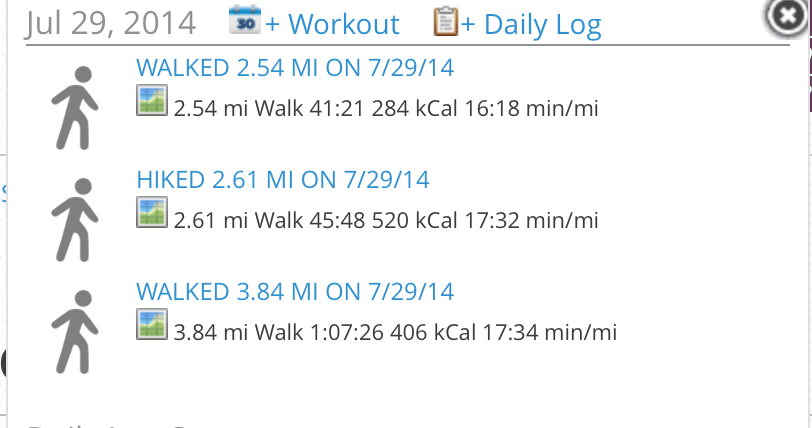 My hiking log for the day