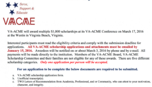 VA-ACME offers scholarship money to Military and their spouses