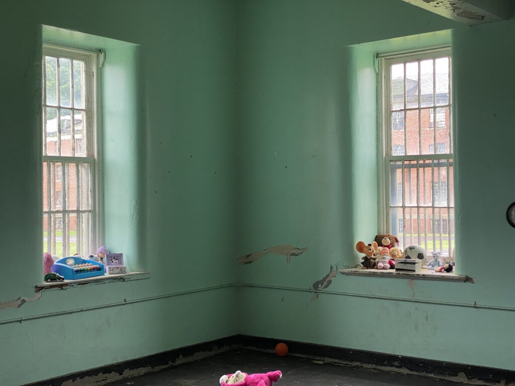 Paranormal investigation room with toys at the Trans-Allegheny Lunatic Asylum