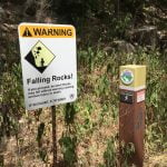 Barton Creek Greenbelt Trail Marker & Danger Falling Rocks Sign