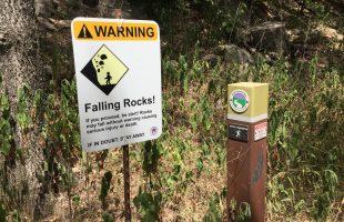 Barton Creek Greenbelt Trail Marker & Danger Falling Rocks Sign