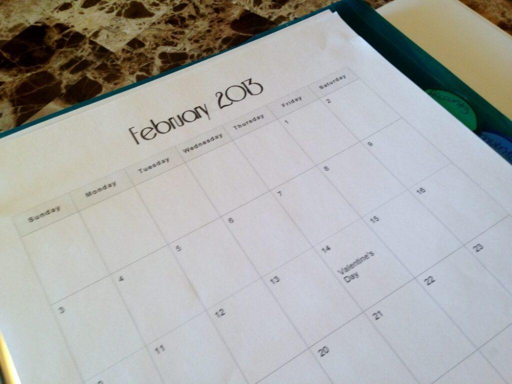 Binder Calendar Sheets