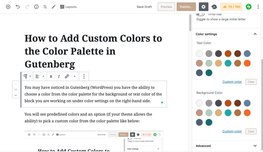 Color palette in Gutenberg WordPress
