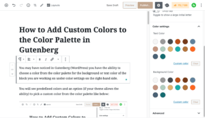 Color palette in Gutenberg Wordpress