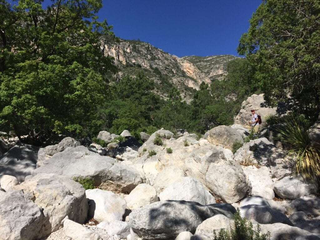 Devil's Hall Trail Boulders at Guadalupe Mountain National Park in Texas