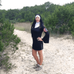 Hiking as a nun at Dana Peak Park for Halloween week. Day 2. Texas
