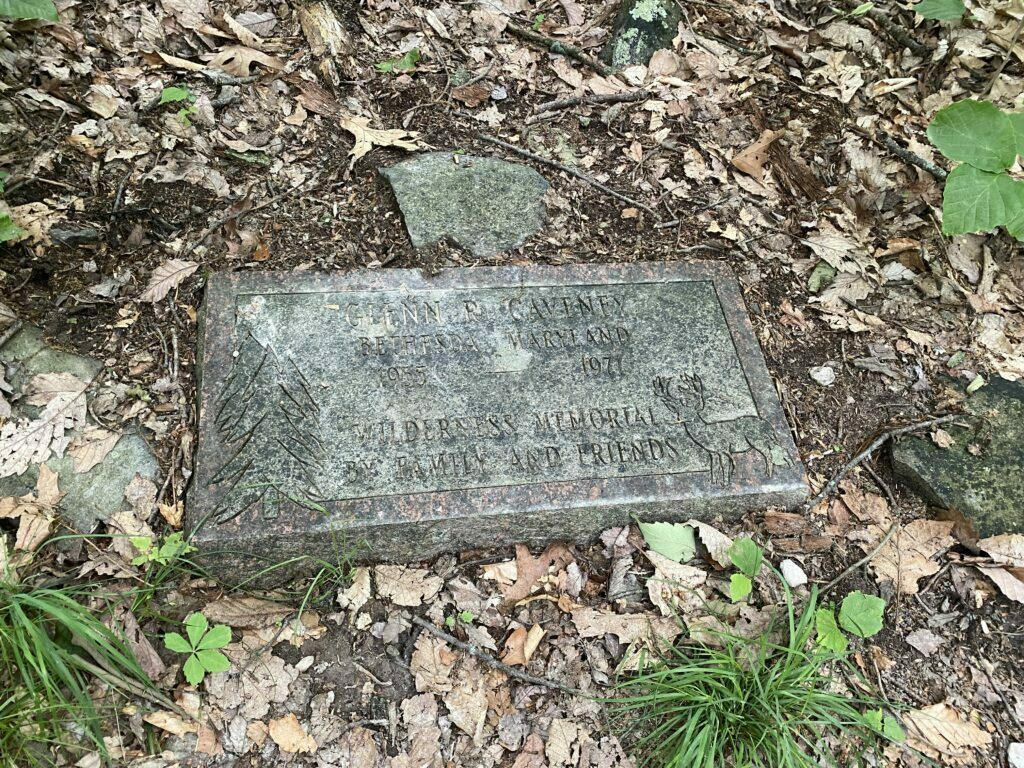 Memorial Marker located 2.3 miles from the Ed Garvey Shelter on the Appalachian Trail.