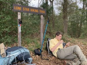 Lone Star Hiking Trail Day 4: Stopping for a snack break