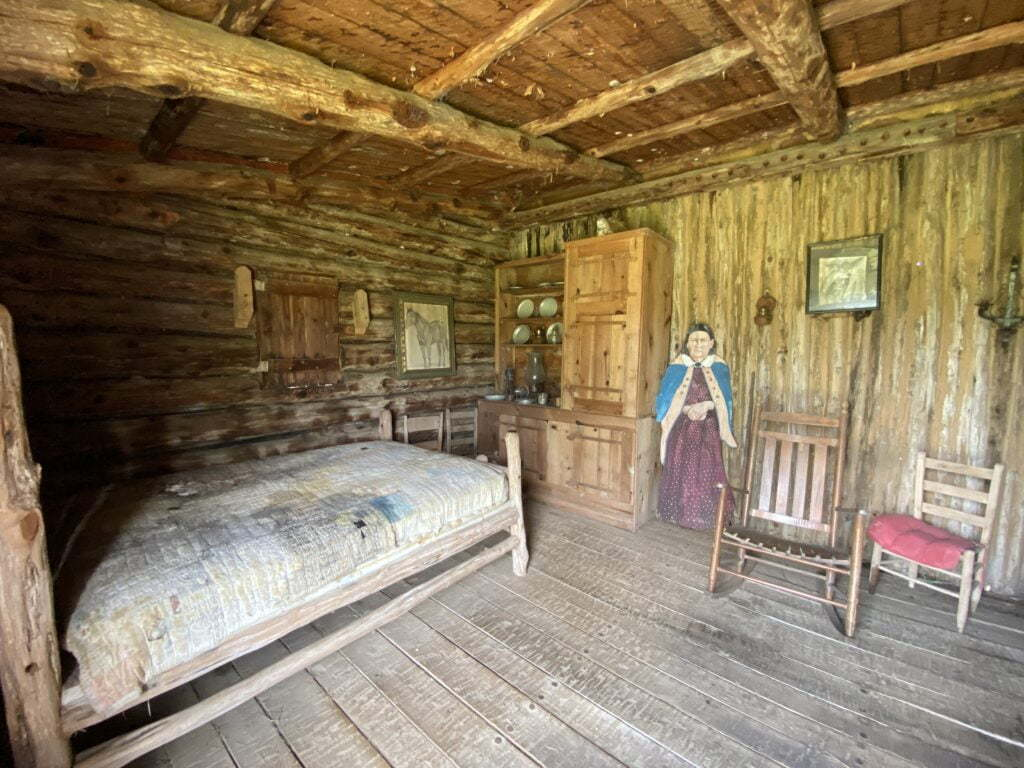 Inside a cabin at Old Fort Parker Historic Site