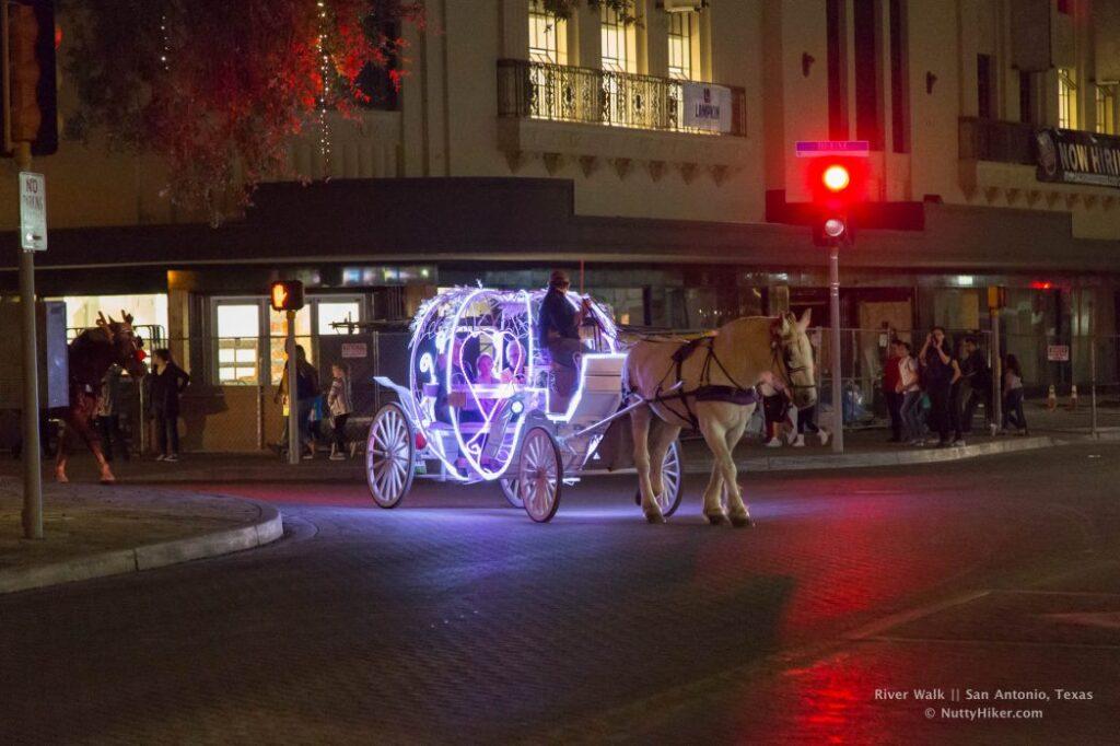 San Antonio River Walk horse drawn carriage rides during Christmas