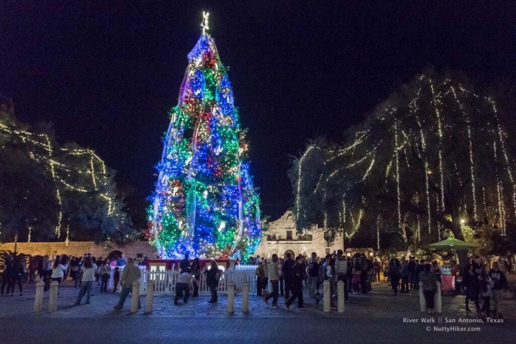 San Antonio River Walk Alamo at Christmas
