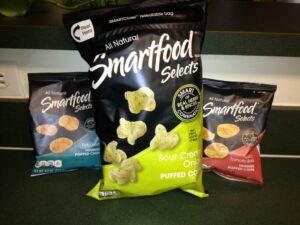 Smartfood Selects chips and puffed corn