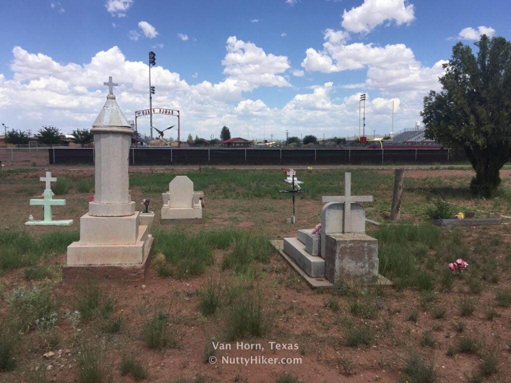 Van Horn Texas Cemetery built next to football field